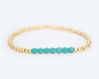 Turquoise and Gold Beaded Bracelet - Navi