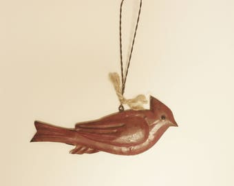 Cardinal Ornament, Rusty Tin Painted Cardinal Ornament, Christmas Decor, DIY Craft Supplies
