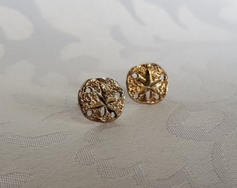 Sterling Sand Dollar Earrings, Sand Dollar Stud Earrings, Seashell Earrings, Sterling Silver Earrings, Earrings