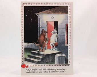 Vintage 1986 Gary Larson Far Side Valentine's Day Greeting Card with Envelope. Oh Ginger