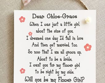 Be My Flower Girl Gift Wedding Proposal Plaque Wooden Card Keepsake W145