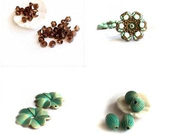 Turquoise Brown Beaded Flower Charm Set - Verdigris Patina, Swarovski Crystals, Handmade Beaded Flower, Mint Green, Flower Charms, Beads