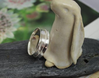 Spinner ring, meditation ring, kinetic, wide band, minimalism, sterling silver