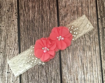 Coral headband, rhinestone headband, flower girl headband, vintage headband, lace headband, rhinestone and pear, flower girl
