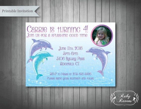 Dolphin Invitation Pool Birthday Party Invitation Swim Party