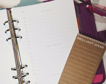 A5 Minimalist To Do List for Filofax or Large Kikki K - Must Do, To Do, and Plans for Tomorrow, gray sans serif design