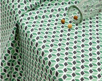 Cotton Fabric - Green Cube - By the Yard 48304