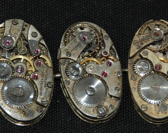 Vintage Antique Oval Watch Movements Steampunk Altered Art Assemblage RT 22