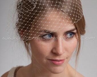 """Bridal Birdcage Veil, 9"""" Short Blusher Veil, Wedding Veil"""