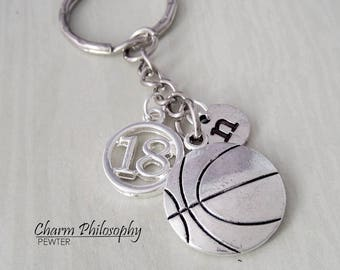 Basketball Key Chain - Men's Gift - Personalized Jersey Number and Initial - Sports Gifts - Basketball Charm