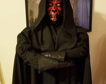 MADE to ORDER Star Wars Darth Maul black coat cloak replica
