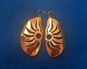 Beautiful Copper Pierced Earrings With Copper Wires