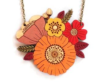 Autumn posy necklace ~ handpainted laser cut flower necklace