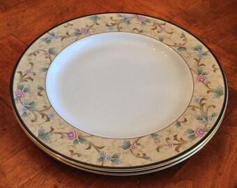"Noritake New Lineage II Fine Bone China ""Loretto"" Pattern Set of Two Yellow Rim Pink Floral Salad Plates, Gold Trim China Plates"