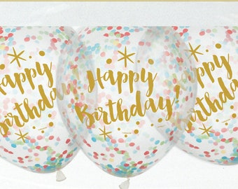 "Confetti Balloons, Gold Happy Birthday, Pack of 6, 12"" balloons, Mixed confetti, Confetti, Birthday Balloons, Birthday Decor, Happy 30th"