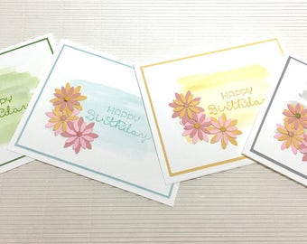 Happy birthday cards (4) handmade set heat embossing pastel floral happy gift feminine stationery paper greeting party supplies