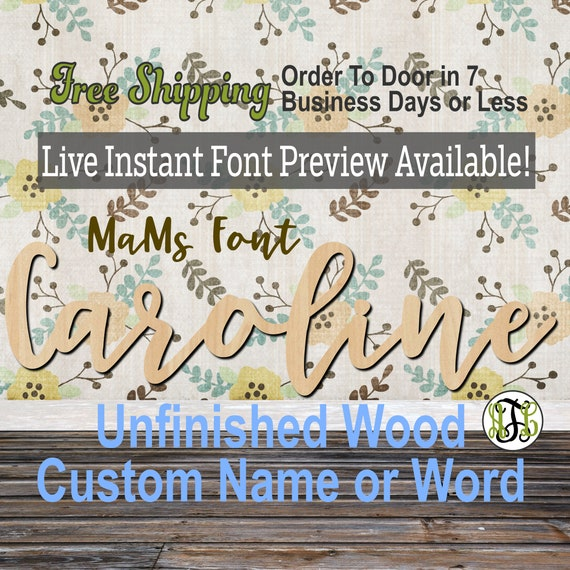MaMs Font Custom Name or Word Sign, Cursive, Connected, wood cut out, wood cutout, wooden, Nursery, Wedding, Birthday, name sign, Script