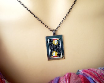 Jack of Clubs, Vintage Playing Card Necklace, Card Necklace