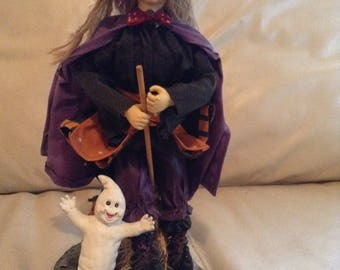 "Vintage 14"" Halloween Cloth Mache' Witch Statue"