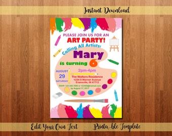 Art Party Invitation, Art Invitation, Art Birthday Party, Paint Party Invitation, Painting Party, Drawing Party, Art Themed Party, 20005