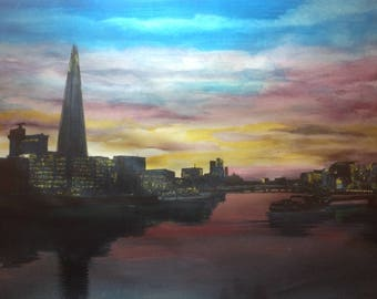 View of the Thames at Dusk original watercolour landscape painting