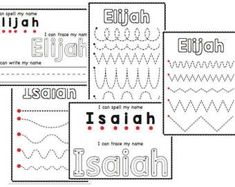 Custom Preschool Name Recognition and Writing Practice Printable Sheets DIGITAL