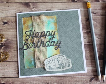 Male birthday cards etsy vintage bus male birthday card handmade paper crafts handmade with love birthday bookmarktalkfo Image collections