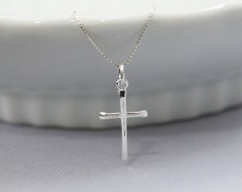 Cross Necklace, Sterling Silver Cross Necklace, Sterling Silver Cross Necklace, Christmas Gift Necklace, Christmas Necklace, Baptism Gift