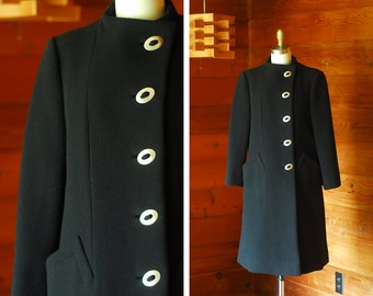 vintage Pauline Trigère black wool coat / size small