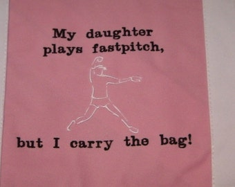 SALE 50% off Fastpitch Softball Pitcher Large Canvas Tote Bag EMBROIDERED Baseball bag