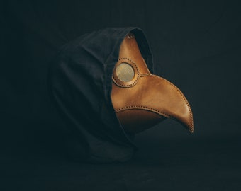 Plague Doctor Short Leather Light Brown Bird Mask , Medieval Bird Mask, Steampunk Masquerade Halloween Mask