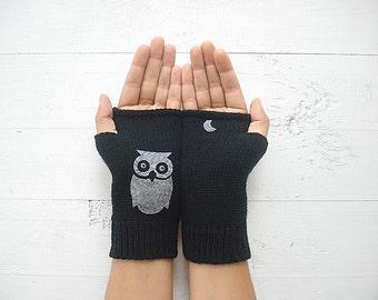 Celestial Gift, Owl Gloves, Women Arm Warmers, Owl Lover Gift, Moon Gift, Gift For Her, Girlfriend Gift, Black Gloves, Women Gift, Celestial