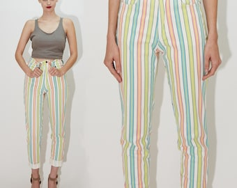 VERSACE JEANS COUTURE, Candy Striped Pastel Neon Stretch Jeans Pants / 80s 90s Gianni Versace - xs / small