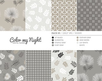 80% OFF SALE Digital Paper Neutral 'Pack05' Floral, Leaves, Dots & Geometric Scrapbook Backgrounds for Invitations, Scrapbooking, Crafts...