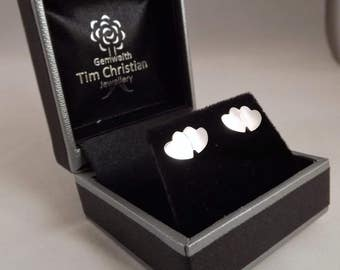 Double Heart Stud Earrings, Silver Heart Hearrings, Love Heart Jewellery, Handmade Silver Earrings, Silver Heart Jewellery, Silver Heart