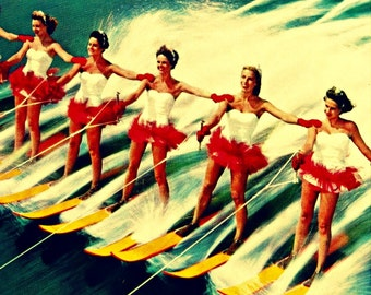 Mid Century Modern Art, Retro Water Skiers, Beach House Art, Mid Century Wall Art, Vintage Ski Art Travel Gift, Ski Gift, Coastal Wall Art,