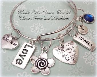 Sister Gift, Middle Sister Charm Bracelet, Gift to Sister, Sister to Sister Gift, Personalized Jewelry Gift, Women's Jewelry, Gift for Her