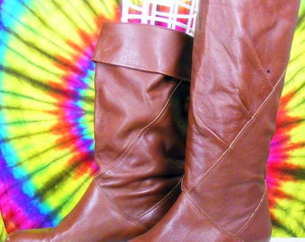 Size 6.5 M vintage 80's maroon leather  cuffed slouch riding boots