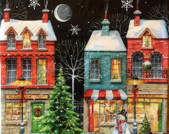 Decoupage Napkins, 4+1 FREE Single  Paper Napkins, COLORED CHRISTMAS Shop, 13 inches (33 cm) for Decoupage, Paper-Craft and Collage