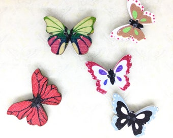 Lot/Set of 5 Butterfly Button Needle Minders