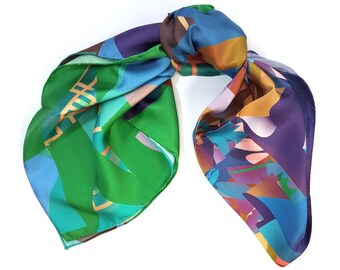 One-of-a-kind silk scarf No.39