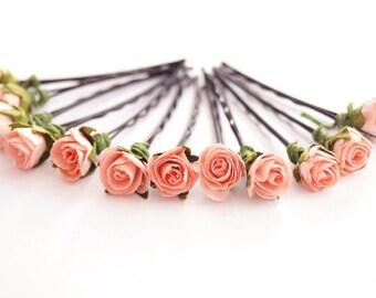 Bridal Hair Accessories, Coral Pink Rose, Coral Pink flower Hair Bobby Pin- set 12