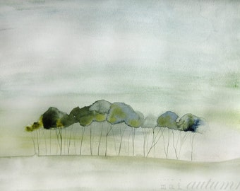 Quiet - Landscape Painting - Art Watercolor - Trees  in Green - Large Print 16x20 - Poster - Wall Art - Wall Decor