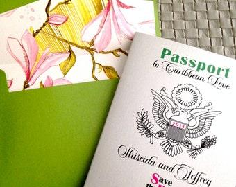 Save the Date, Wedding Passport Invitation- Destination Wedding Sample