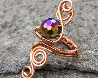 Copper/Silver Haematite-adjustable ring ,copper ring, wire wrapped copper ring .