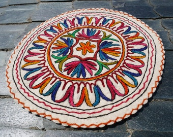 Round wool rug, felted rugs, meditation mat, Mandala rug, small round rug, hand felted round rug, felted wool floor mat, floor seating mat