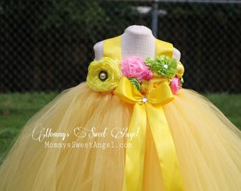 Flower girl tutu dress. Yellow tutu dress. Flower girl dress. Birthday tutu dress. Pageant tutu. More colors available.