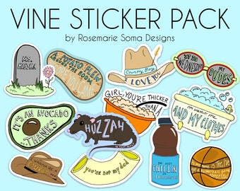 NEW VINE STICKERS - laptop stickers, vine laptop stickers, laptop sticker pack, vine sticker pack of 12 stickers