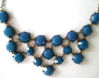 Bib Necklace * Blue Glass Stones * Classic Vintage
