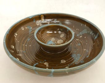 Brown Speckled Stoneware Ceramic Chip & Dip
